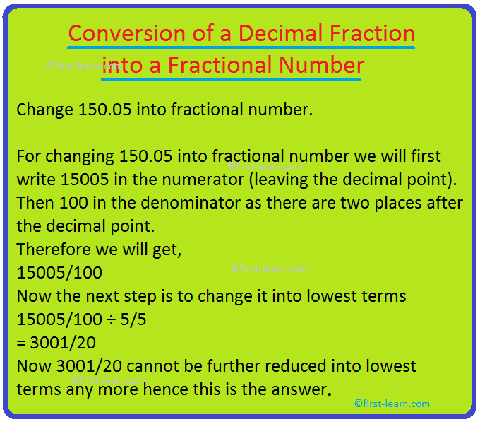 Conversion of a Decimal Fraction into a Fractional Number