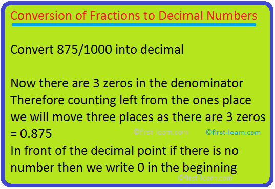 Conversion of Fractions to Decimal Numbers