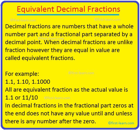 Equivalent Decimal Fractions