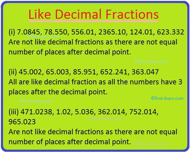 Like Decimal Fractions