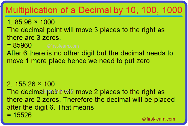 Multiplication of a Decimal by 10, 100, 1000