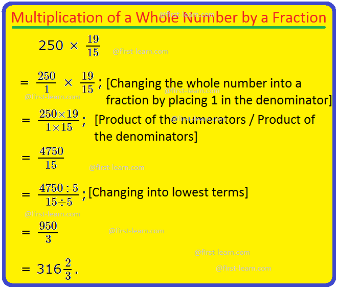Multiplication of a Whole Number by a Fraction