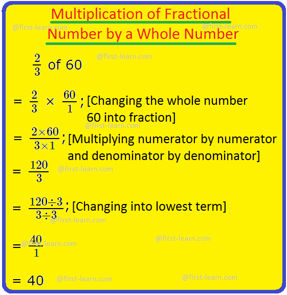 Multiplication of Fractional Number by a Whole Number