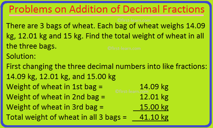 Problems on Addition of Decimal Fractions