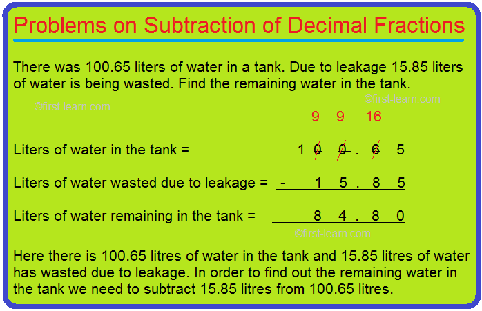 Problems on Subtraction of Decimal Fractions