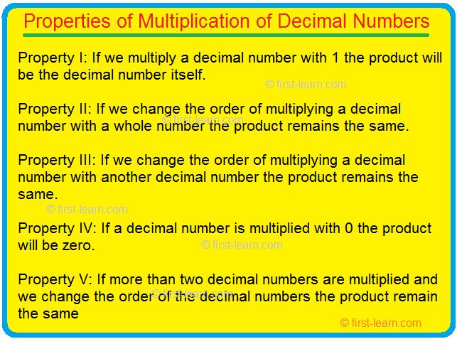 Properties of Multiplication of Decimal Numbers