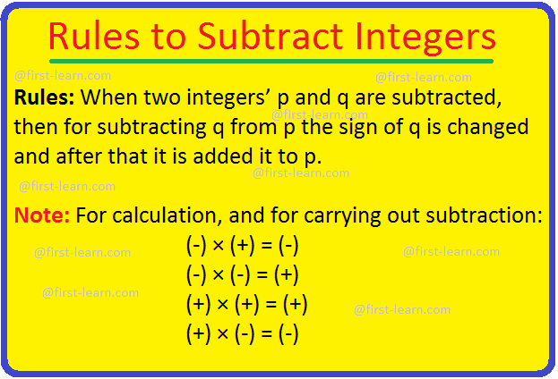 Rules to Subtract Integers