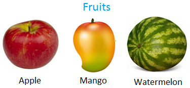 Some fruits are apple, orange, mango, watermelon and peach.
